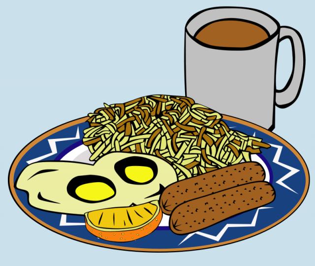 Ciepłe posiłki są ważnym elementem codziennegJajecznica, kiełbaski ikubek gorącego napoju - ciepłe posiłki są ważnym elementem codziennego jadłospisuo jadłospisu