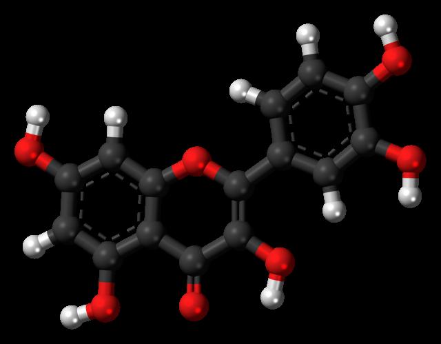 Kwercetyna - model cząsteczki w3D