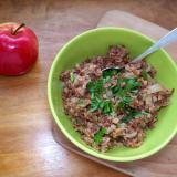 Tuńczyk z kaszą gryczaną i cebulą - szybkie śniadanie na ciepło